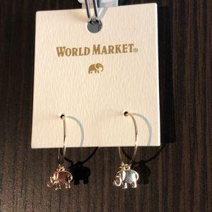 World Market Small Gold Elephant Hoop Earrings